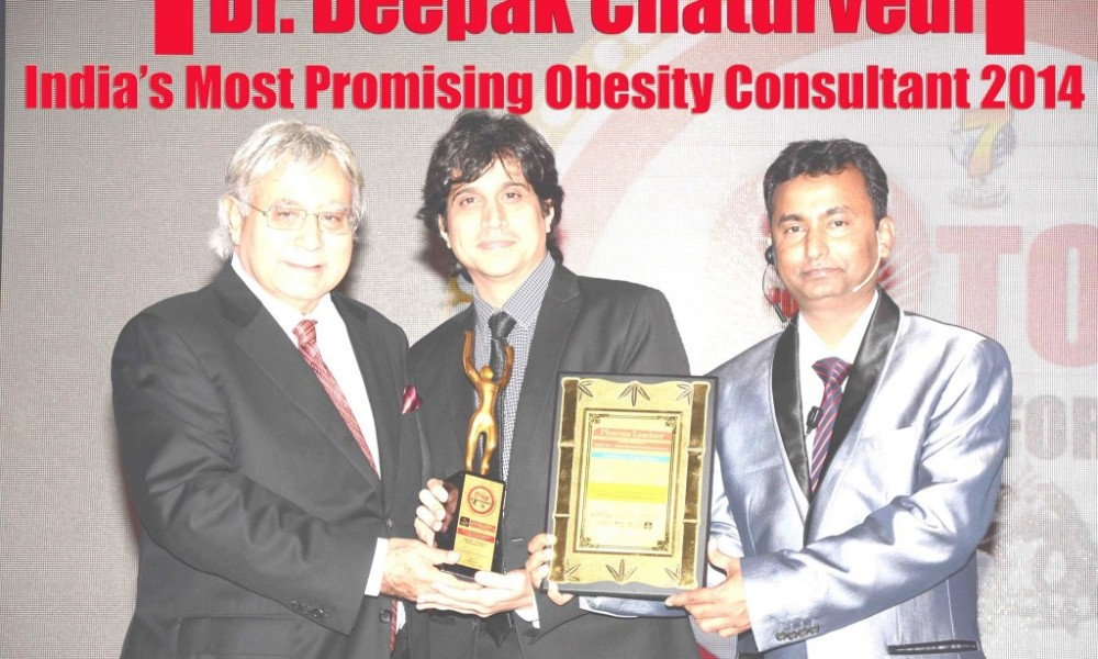 "Diabetes, Thyroid & Hormone Clinic Founder Dr. Deepak Chaturvedi Awarded at prestigious 7th Annual Pharmaceutical Leadership Summit & Pharmaleaders Business Leadership Awards 2014 as ""India's Most Promising Obesity Consultant 2014"